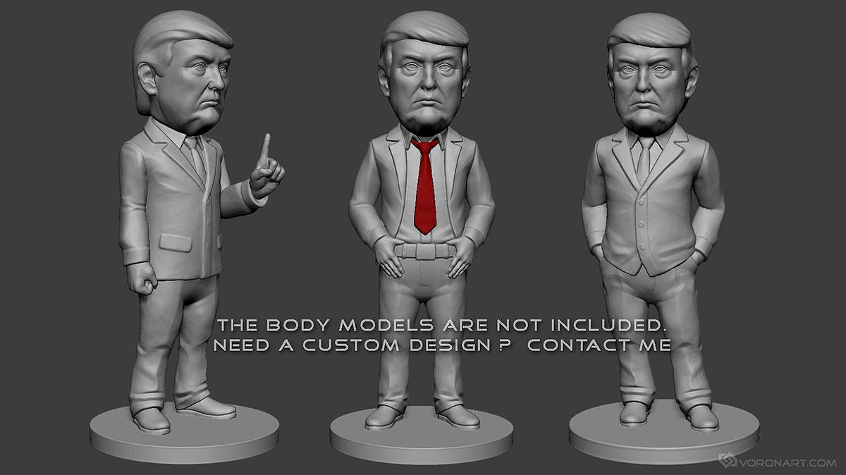Donald Trump portrait  3D print ready model  STL, OBJ files