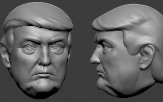 Donald Trump portrait head 3d model. STL, OBJ files