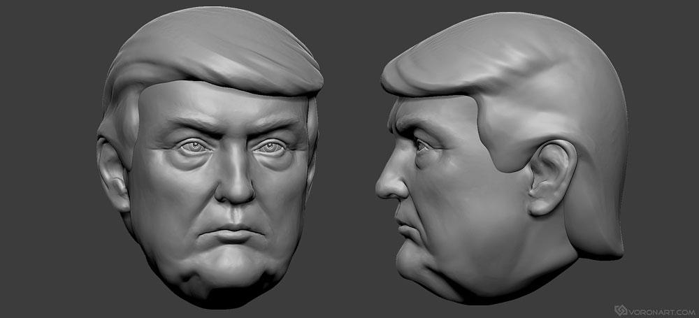 Donald Trump Portrait 3d Print Ready Model Stl Obj Files