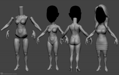 Female body base mesh. full body sculptyre. 3d printable model
