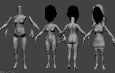 Female body base mesh. full body sculptyre. 3d printable model