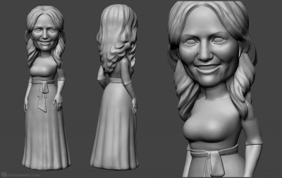 girl portrait sculpting from photo. 3d-print-ready model in zbrush