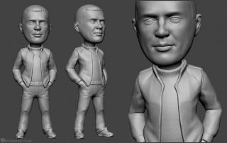 guy portrait bobblehead sculpture for 3d printing.