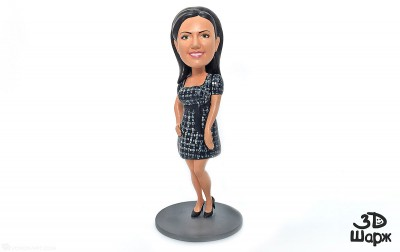 girl bobblehead portrait figurines 3d printed and hand painted miniature