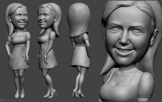 girl bobblehead portrait sculpting from photo. 3d-print-ready model