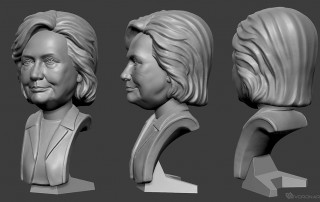Hillary Clinton digital sculpture portrait bust. Free 3D model for 3d printing