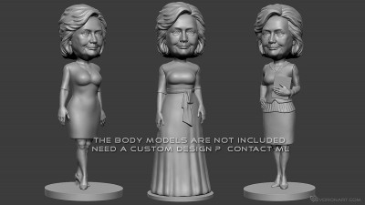 Hillary Clinton bobblehead digital sculpture portrait.