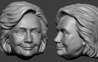 Hillary Clinton bobblehead digital sculpture portrait.