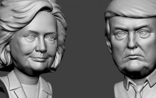 Hillary Clinton and Donald Trump bobblehead sculpture portraits.