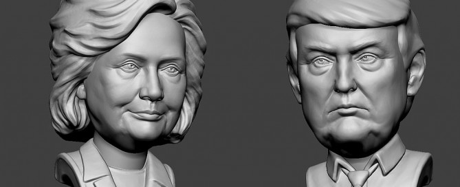 Hillary Clinton and Donald Trump sculpture portraits. Free 3D models