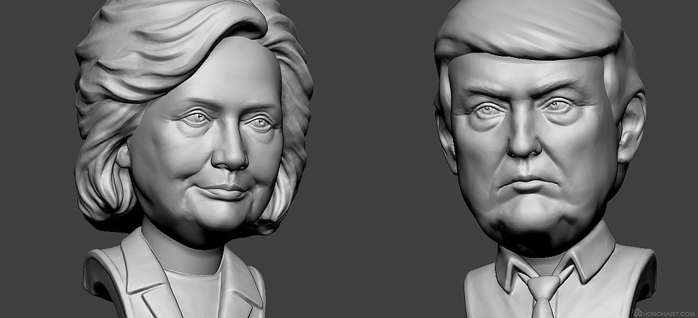 Hillary Clinton and Donald Trump bobblehead sculpture portraits.