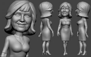 woman portrait bobblehead sculpting for 3d printing