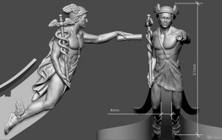 Mercury antique god. High polygon 3d model for 3d printing