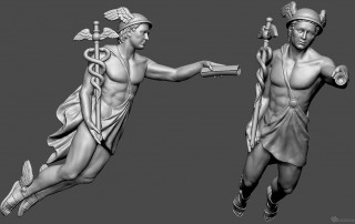 Mercury antique god. Digital sculpture for 3d printing