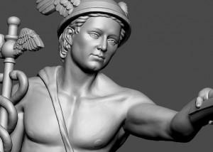 Mercury antique god. 3D print ready 3D Sculpture for metal casting