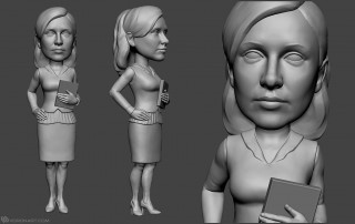 office girl bobblehead figurine sculpting. 3d model