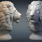Serious lion head digital sculpture, STL and OBJ files. For 3d printing, CNC milling