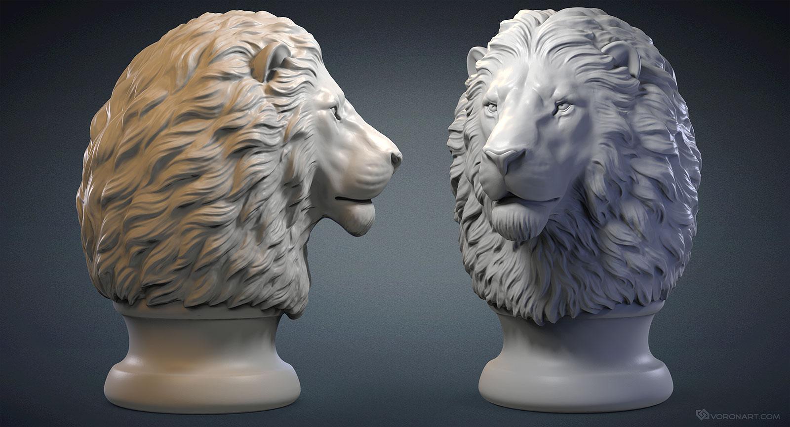 Lion Head 3d Model Digital Sculpture Stl Obj Files