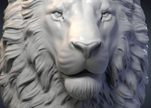 Serious lion head, high polygon 3d model, STL and OBJ files. For 3d printing, CNC milling