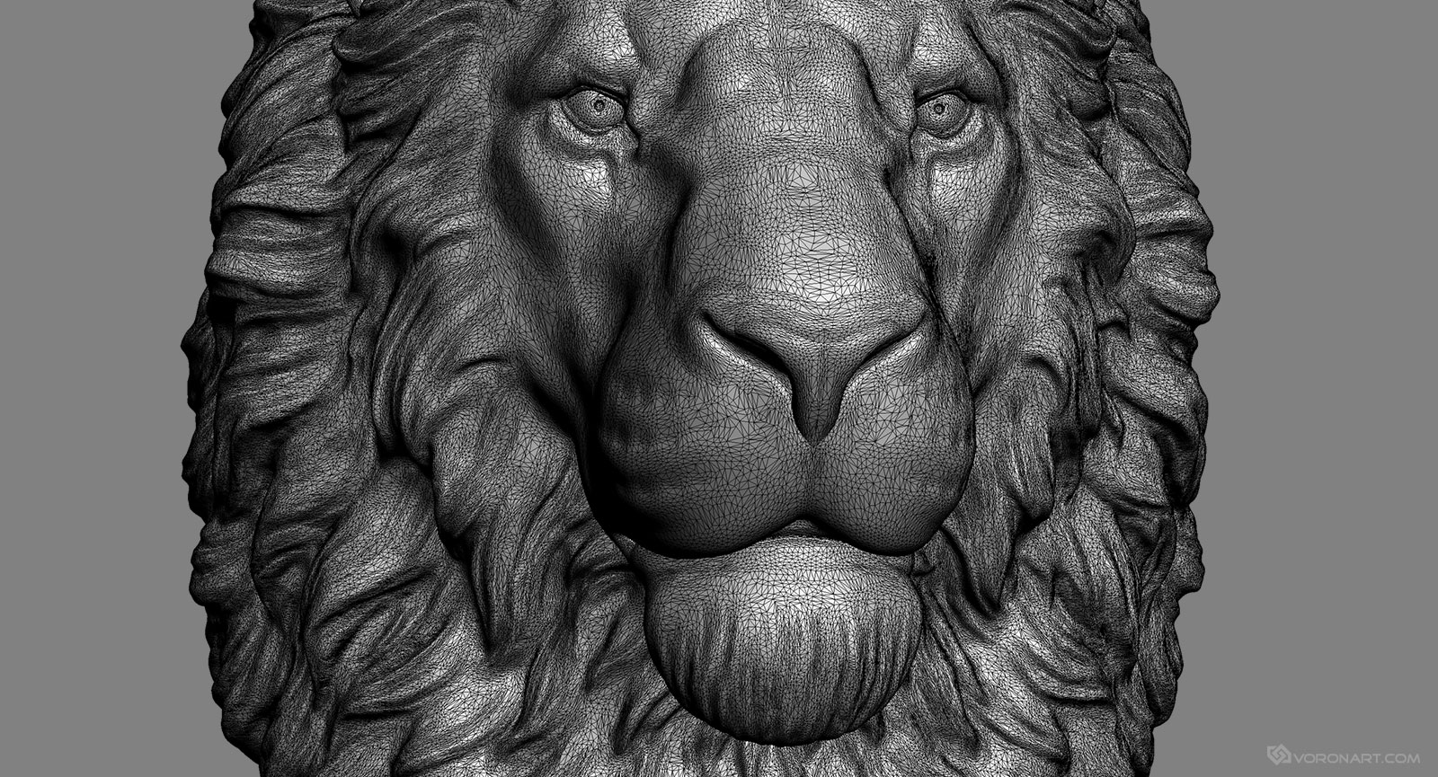 lion head 3d model digital sculpture stl obj files