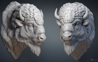American bison buffalo head digital sculpture. 3D model for CNC, 3d printing, mold making, Jewelry design