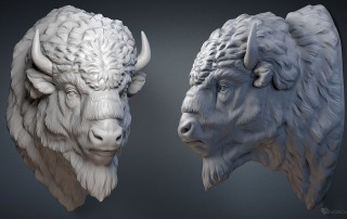 American bison buffalo head digital sculpture. 3D model for CNC, 3d printing