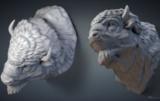 American bison buffalo head. 3D model for CNC, 3d printing