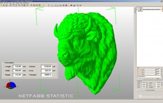 American bison buffalo head digital sculpture. 3D model statistic