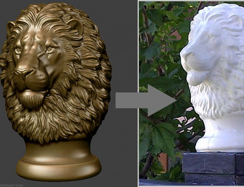 Post Finial sculpture. Lion head