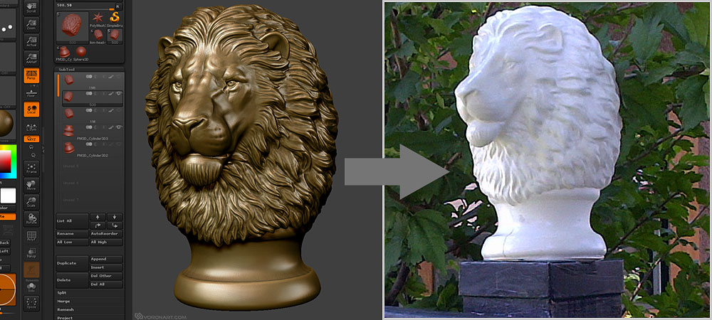 Lion head post finial. Digital sculpture for CNC, 3D printing