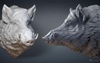 Wild Boar head digital sculpture. 3D model for CNC, 3d printing, mold making, Jewelry design