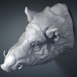 Wild Boar head digital sculpture. 3D model for CNC, 3d printing, mold making, Jewelry design