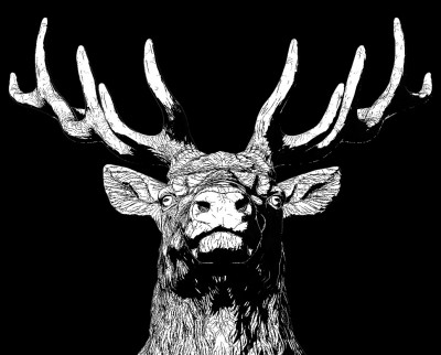 deer head digital sculpture. 3d model for comic style art