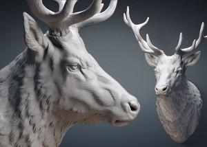 Deer stag head sculpture STL, OBJ files. 3d printing, CNC carving. For Jewelry design, interiour design, digital visualisation.