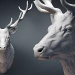 Deer stag head sculpture STL, OBJ files. 3d printing, CNC milling. For Jewelry design, interiour design, digital visualisation.