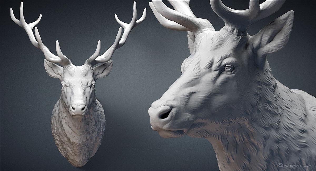 deer stag head sculpture 3d model for cnc 3d printing