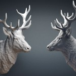Deer stag head sculpture STL, OBJ files. 3d printing, CNC machine. For Jewelry design, interiour design