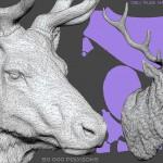 Deer head sculpture, high polygin 3d model STL, OBJ. Wireframe