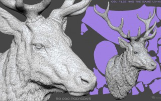 Deer head sculpture, high polygin 3d model STL, OBJ. Wireframe