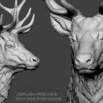 Deer head Zbrush sculpture, high polygin 3d model STL, OBJ. Wireframe