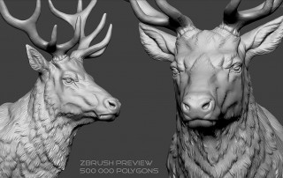 Deer head Zbrush sculpture, high polygin 3d model STL, OBJ. Wireframe