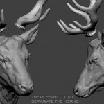 Deer head Zbrush sculpture, Separated horns. high polygin 3d model STL, OBJ