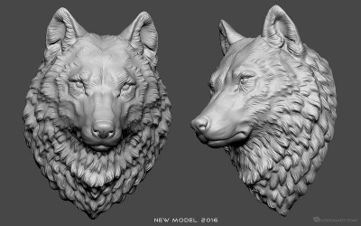 Wolf head digital sculpture, 3d modle for CNC, 3d-printing, jewelry design