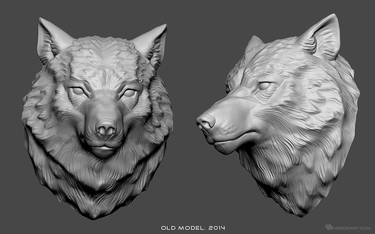 Old wolf head 3d model for CNC, 3d-printing, jewelry design