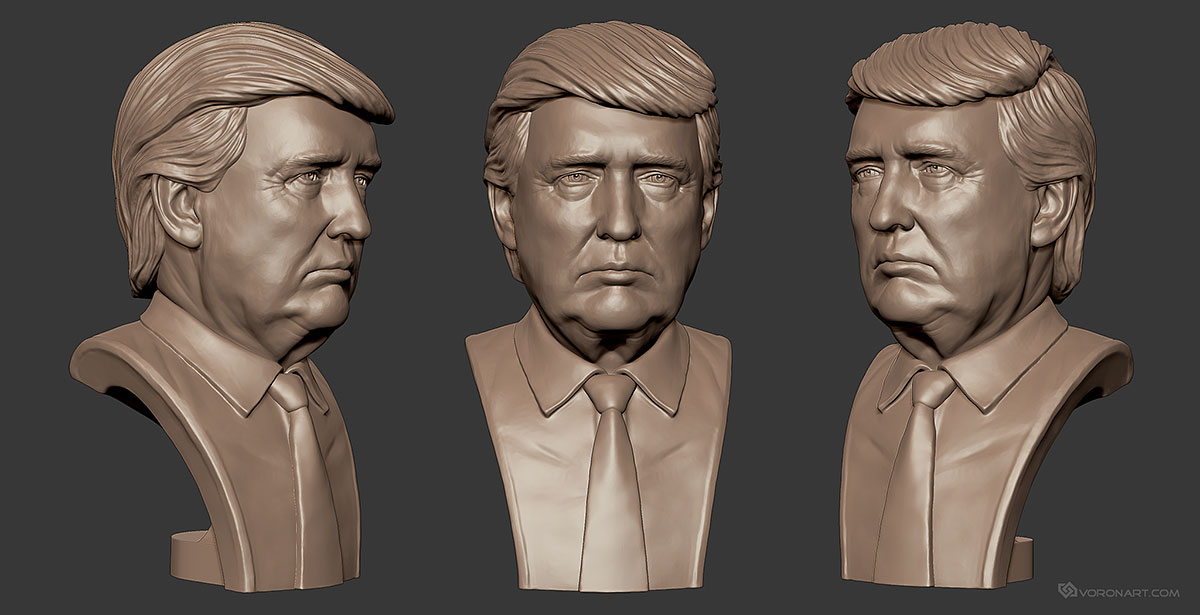Donald trump and hillary clinton 3d portraits digital for Donald model