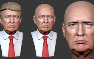 Donald Trump portrait. digital sculpture. 3D model for CNC, 3d printing, mold making