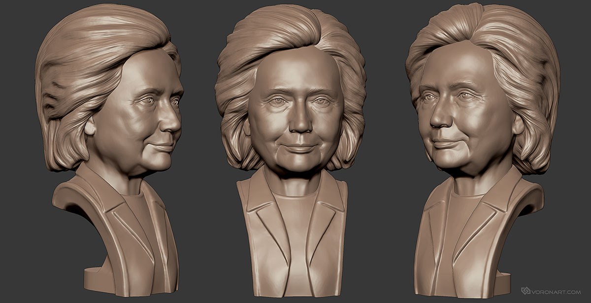 donald trump and hillary clinton 3d portraits  digital sculpture