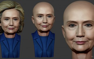 Hillary Clinton portrait. digital sculpture. 3D model for CNC, 3d printing, mold making