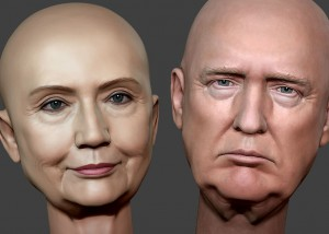 Donald Trump and Hillary Clinton portraits. digital sculptures. 3D model for CNC, 3d printing, mold making