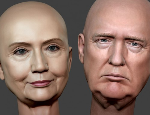 Donald Trump and Hillary Clinton 3d portraits
